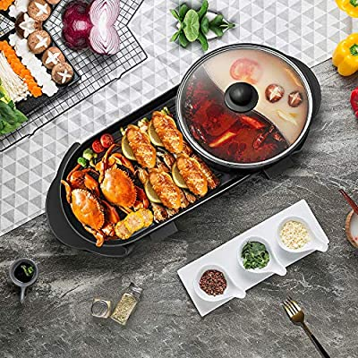 InLoveArts 2 in 1 Electric Grill Indoor Hot Pot, Multifunctional Grill with Divider Separate Dual Temperature Contral, Capacity for 2-8 People Family Gatherings (110V)