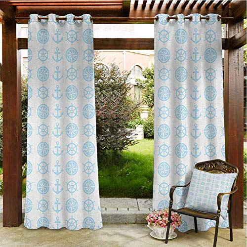 Nautical Outdoor Natural Gazebo Curtain Porch Balcony Pergola Lanai Tent Gazebo Window 72'x84' Compass Anchor Pattern Vertical Line Navigation Captain Vacation Traveling Baby Blue White