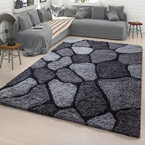 TT Home Wohnzimmer Teppich Shaggy Hochflor Konturenschnitt Stein Design In Anthrazit, Größe:60x100 cm