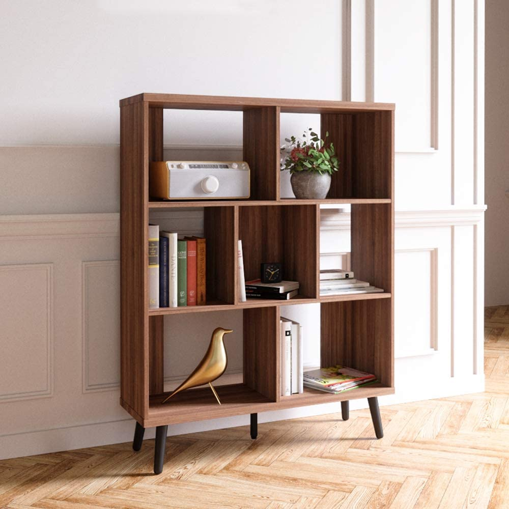 Bestier Cube Bookcase Mid Century Bookshelf Modern Display Open Storage  Bookcase Freestanding Decorative Organizer Shelves for Living Room Bedroom  ...