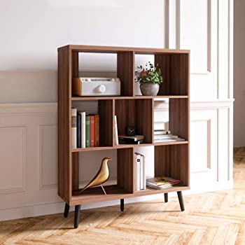 Bestier Cube Bookcase Mid-Century Bookshelf Modern Display Open Storage Bookcase Freestanding Decorative Organizer Shelves for Living Room Bedroom Home Office Furniture