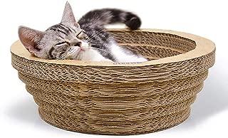 SODAOA屋 猫 爪研ぎ つめとぎ 爪とぎ ベッド ダンボール 猫用ソファ 猫おもちゃ 寝床 ストレス解消 両面とも使える 人気 猫スクラッチボード スクラッチャー 両用 猫ベッド ストレス解消 ペット用品 ガリガリサークル キャットニップ付(M)