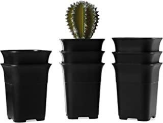T4U New 4.25 Inch Plastics Nursery Pot Black Set of 8, Square Plant Pot Garden Planter Container Patio Yard Balcony Outdoor for Seedlings Vegetable Fruits Succulent Flower Home Decor Christmas Gift