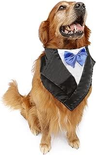 NACOCO Wedding Tuxedo Large Dog Bandana Scarf Adjustable Cat Collar Neckerchief Pet Dress-up Clothes for Wedding Party or Halloween