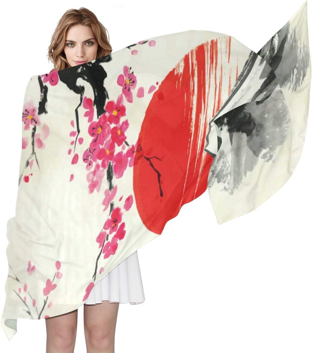 AUUXVA Fashion Scarf Watercolor Floral Cherry Blossom Sunset Japanese Long Lightweight Sunscreen Scarf Shawl Wrap Muffler Neckerchief for Women Men