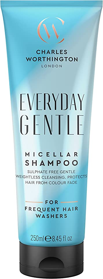 Charles Worthington Everyday Gentle Micellar Shampoo, Nourishing Shampoo to Cleanse, Lightweight Hair Shampoo for Women and Men, Salon Shampoo for Everyday Use, 250 ml