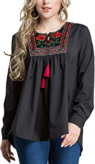 Women Loose Floral Embroider and Tassels Design Shirt Fashion Long Sleeves Maxi Blouse - Size 5XL