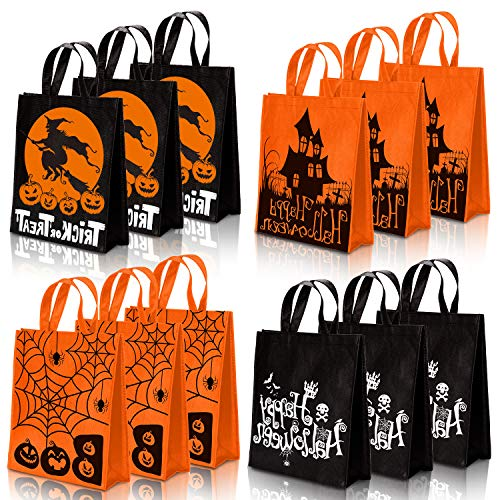 Whaline 12 Pack Halloween Non-Woven Bags Trick or Treat Tote Gift Bags Orange Black Skull Pumpkin Web Spider Witch Candy Bags Reusable Goodie Treat Bag with Handle for Halloween Party Favors, 12 x 15'