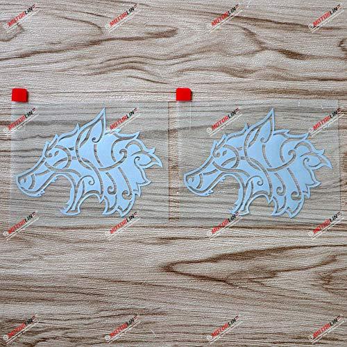 2X Silver 4'' Viking Wolf Head Celtic Decal Sticker Norse Car Vinyl Die Cut no bkgrd