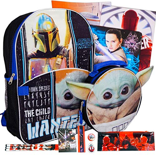 Mandalorian Backpack and Lunch Box Set Boys Girls Kids ~ 17 Piece Baby Yoda School Bag, Insulated Lunch Bag, Notebook, 2 Folders, Pencils, Pens, Stickers, and More (Star Wars School Supplies)