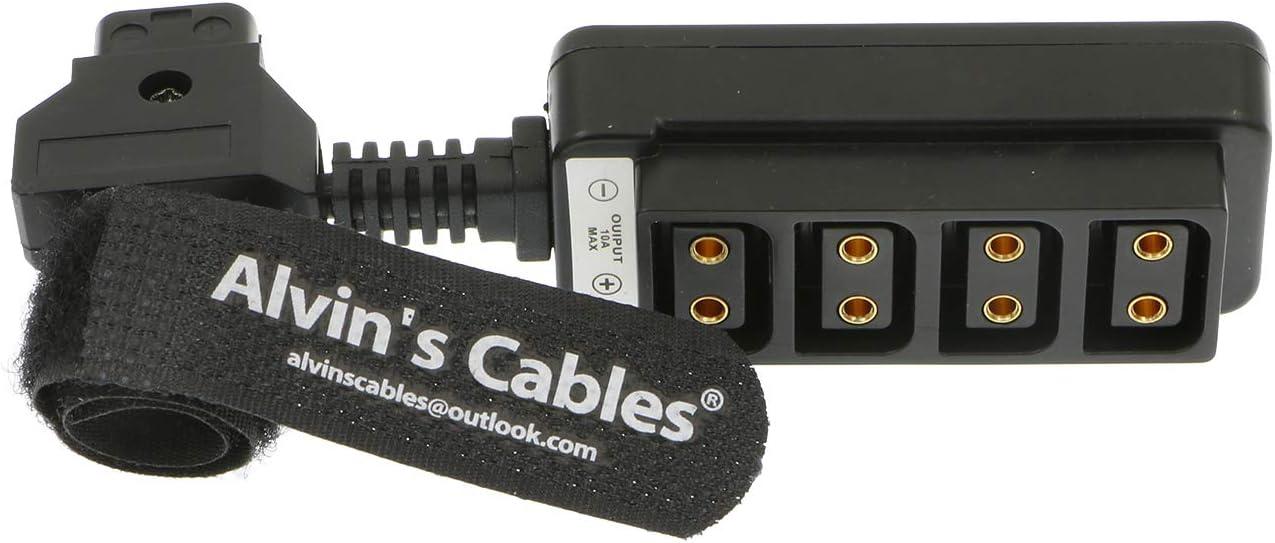 Alvins Cables D-Tap Splitter C/âble P-Tap HUB C/âble Dtap M/âle vers Trois Ports D Tap Femelle Splitter C/âble avec Filetage de Vis pour Cam/éras Arri Red Z CAM TILTA Steadicam IDX V-Mount Battery-Blue