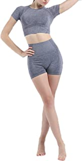 LaiYuTing Sömlös yogakläder dräkt sport fitness kortärmad yogabortsdräkt kvinnor