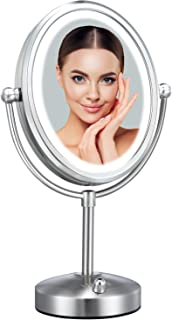 Professional 8'' x 7'' LED Vanity Mirror, VESAUR Pearl Nickel Oval Lighted Makeup Mirror with 28 Dimmable SMD (High up to ...