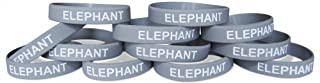 Novel Merk Elephant Gray Safari Animal Kids Party Favor & School Carnival Prize Silicone Rubber Band Wristband Bracelet (12 pieces)