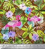 Soimoi Braun Viskose Chiffon Stoff Flamingo, Tropische