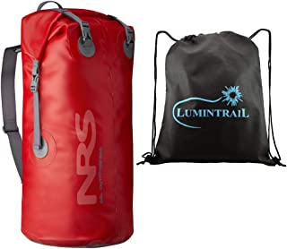 NRS Outfitter Dry Bag Waterproof Pack with Rolltop Closure and Padded Shoulder Sling Bundle Includes a Lumintrail Drawstring Bag
