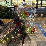 LOPP LED Luminous Balloon Rose Bouquet Transparent Luminous for Women Girlfriend Wife Anniversary Festival (Red Rose Black Yarn)