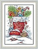 YEESAM ART Kit de broderie au point de croix compté avec des bottes de père Noël trois petits lapins carottes – Kit de broderie à faire soi-même Cadeau de Noël fait main (estampillé)