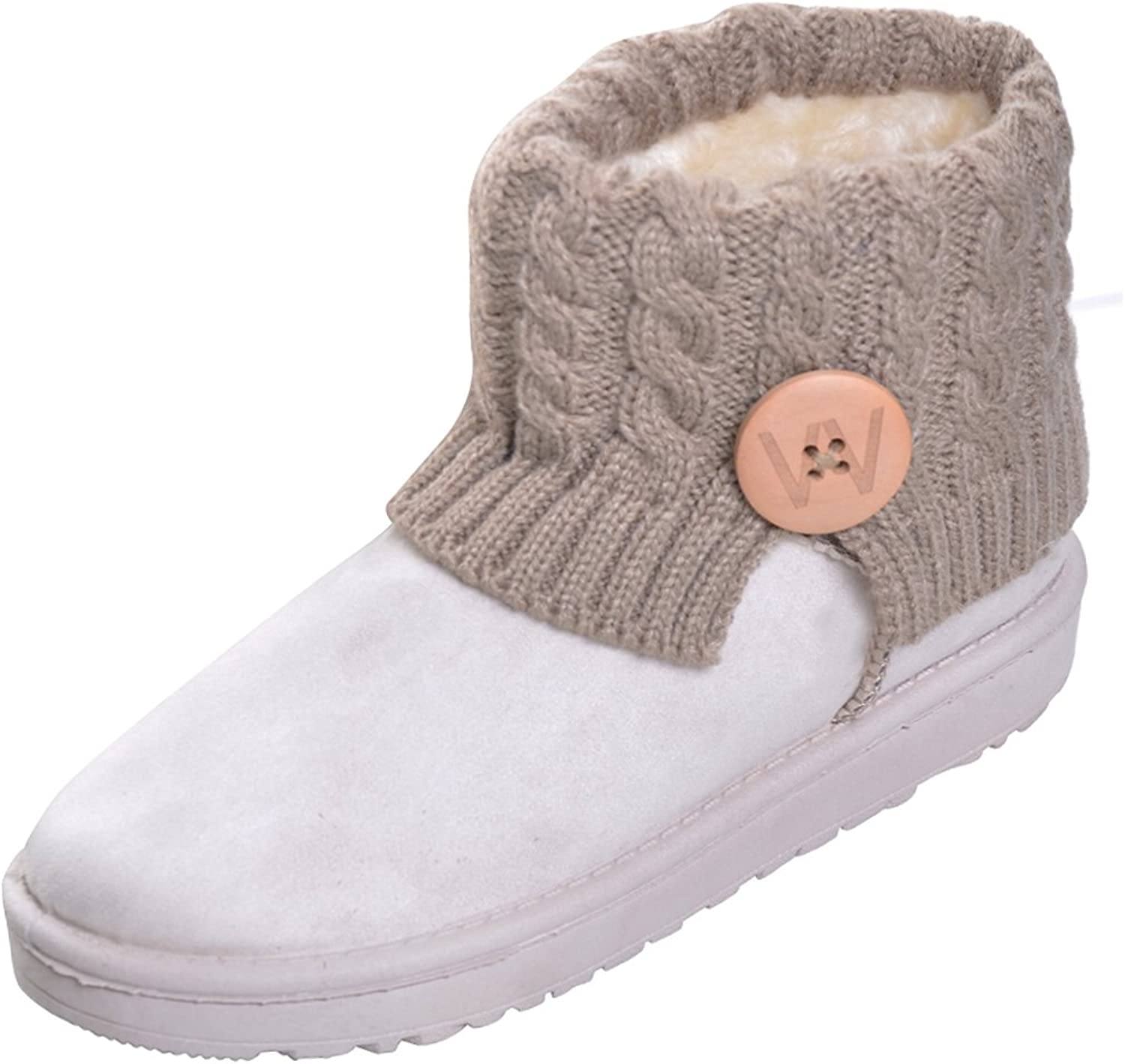Yellow Tree Company Women Fully Fur Lined Platform Booties Knitting Winter Snow Boots Beige