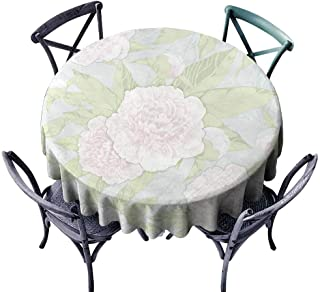 StarsART Modern Waterproof Table Clothes Seamless Pattern Peonies and Buds on a Light Background D36,for Umbrella Table
