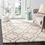 Safavieh Hudson Shag Collection SGH284D Ivory and Beige Moroccan Geometric Area Rug (6' x 9')
