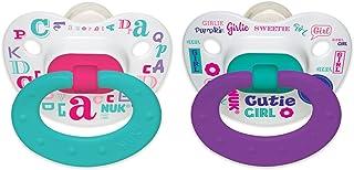 NUK Baby Talk Puller Pacifier, 0-6 Months, Aqua/Purple