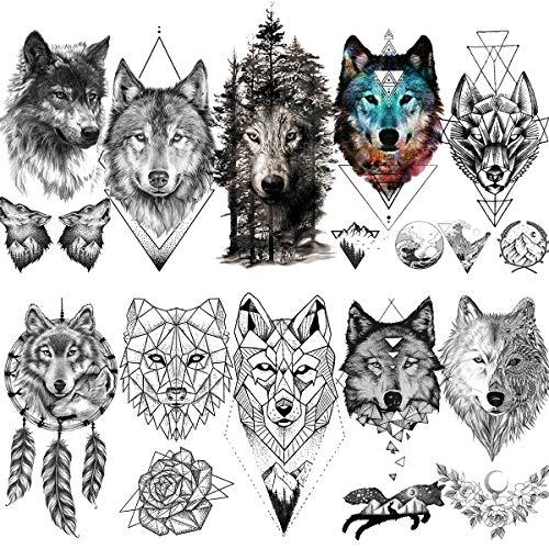 LAROI 10 Blätter Große geometrische realistische Wolf Temporäre Tattoos Frauen Erwachsene gefälscht Arm Wald Gebirge Löwe Kojote Männer Schwarze Tattooaufkleber Kinder Arm Wald Tatoos Armband