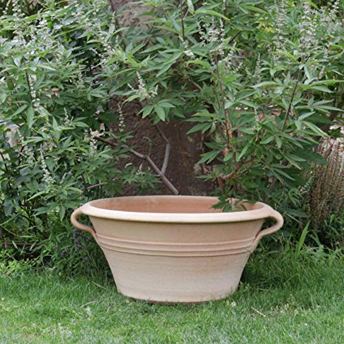 Céramique crète   Bol en terre cuite antigel avec poignée 70 cm   à planter ou en mini étang, terrasse de jardin, look méditerranéen et antique