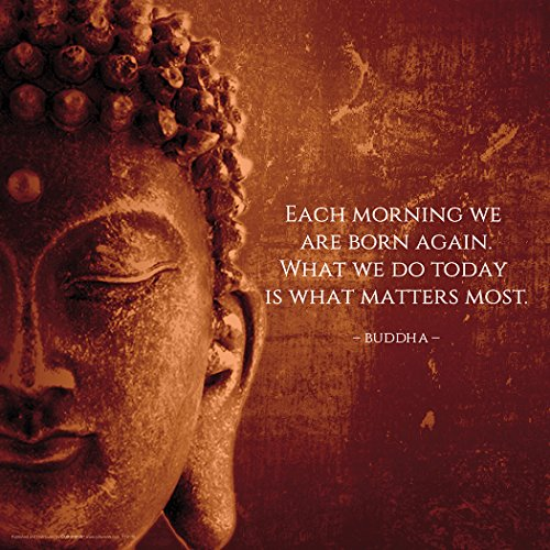 Culturenik Buddha Each Morning Motivational Inspirational Saying Quote Poster Print, Rolled (Unframed 12 x 12 Print)