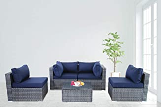 Outime Patio Furniture Rattan Sofa Grey Wicker Couch Set Garden Outside Sectional Seating Home Furniture w/Coffee Table Navy Blue Cushion 5pcs