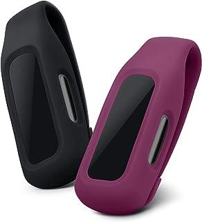 kwmobile 2 x klämhållare kompatibla med Fitbit Inspire 2/Ace 3 – klämhållare ersättningsset – svart/mörkröd