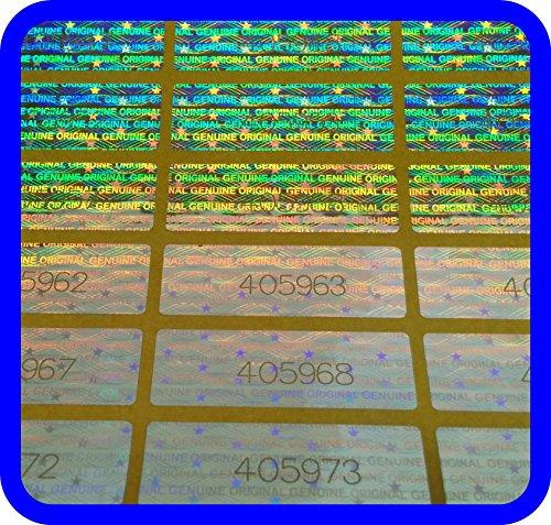 1020 Hologramm Etiketten mit Seriennummern, Garantie Siegel Aufkleber 30x10mm