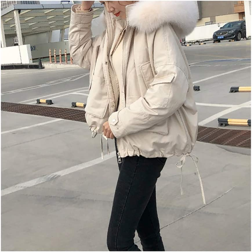 Women's Quilted Down Jacket Coat Outwear Puffer Jacket with Detachable Faux Fur Collar Warm Winter Puffer Down Jacket (Color : Beige, Size : Medium)