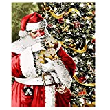 XXSCZ Set de Bricolaje para Pintar por números para Adultos y niños, con Lienzo de Lino con Santa Claus Christmas-5 Pintura al óleo, 40x50 cm (Sin Marco)
