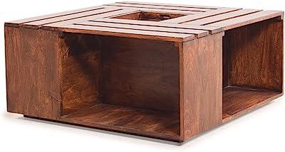 Furny Impresso Solid Wood Coffee Table (Teak Wood) in Teak Polish