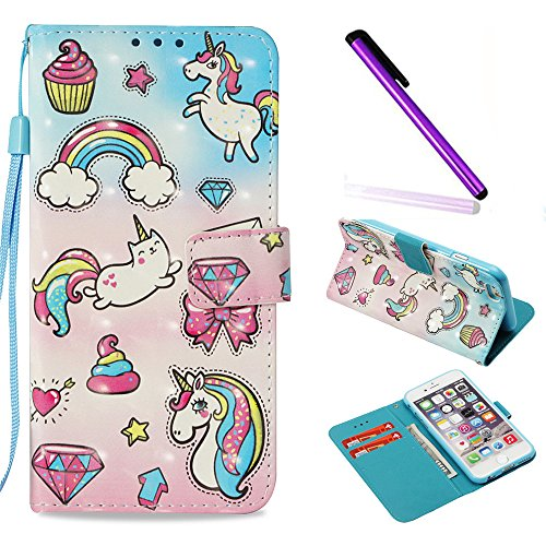 iPhone 7 Case iPhone 8 Case ISADENSER Glitter 3D Fancy Luxury Design Wallet with Card Holder Cash Slots Kickstand Shockproof PU Leather Folio Flip Case Cover for iPhone 8 7 3D Fantasy Unicorn YB