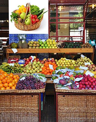 Oedim Vinilo Decorativo Pared 3D Fruteria | Cesta de Mimbre Frutas y Verduras | 155x120cm | Adhesivo Resistente y de Facil Aplicación | Pegatina Diseño Elegante | Decoración Puestos de Venta |