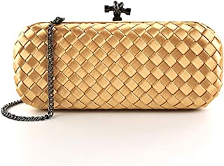 Women's Imitation Silk Cross Weaving Party Bag Ladies Chain Shoulder Diagonal Package Wedding Bride Celebration Color Clutch Bag Wallet Size: 23 * 5 * 9cm Fashion (Color : Gold)