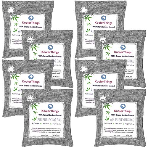 KoolerThings 8 Pack - Bamboo Charcoal Air Purifying Bags (8 X 200g) Natural Air Fresheners & Odor Eliminators for Home, Pets, Car, Closet, Shoes