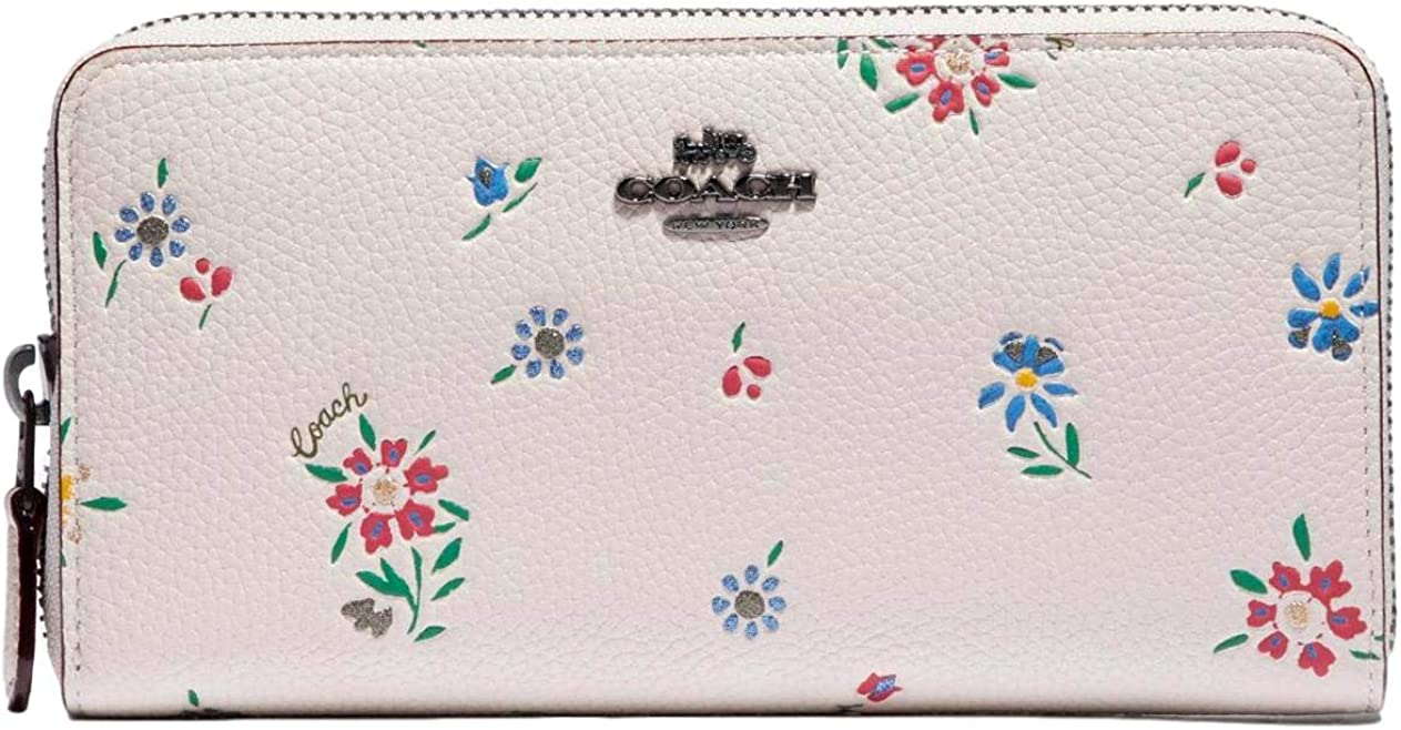 Coach Accordion Zip Wallet Wildflower Print Floral Flowers Chalk Leather NEW