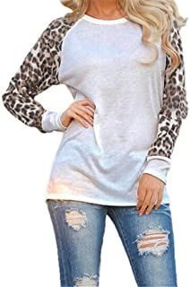 Hot Women Blouse Daoroka Plus Size Sexy Leopard Long Sleeve Patchwork Shirt Elegant Casual New Cute Tops (4XL, White)