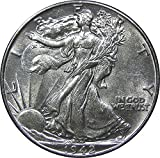 A U.S. Walking Liberty half dollar, dated between 1936-1945 About Uncirculated condition or better - light wear and partial mint luster 30.6mm diameter, 12.5g weight, .900 fine silver Considered one of the most beautiful coin designs in U.S. history ...