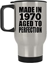 50th Birthday Made in 1970 Aged to Perfection - Silver Travel Mug Insulated Tumbler Stainless Steel - Friend Kid Daughter Son Grand-Dad Mom Birthday Anniversary Mother's Father's Day
