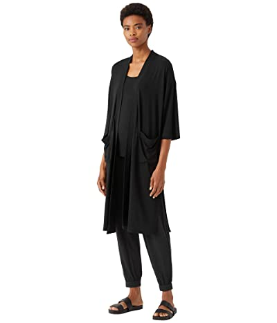 Eileen Fisher Boxy Fine Stretch Jersey Knit Jacket with Elbow Sleeves