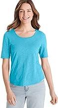 Chico's Women's Cotton Slub Elbow-Sleeve Tee Shirt