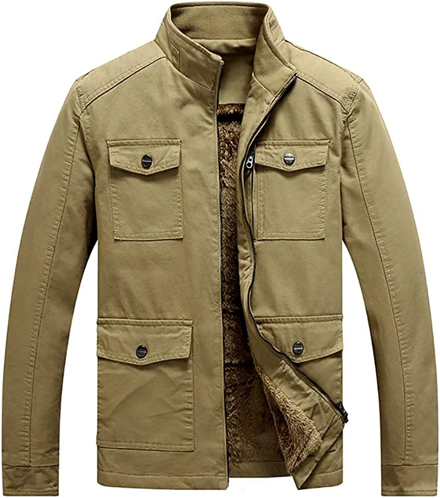 Men's Casual Cotton Fleece Military Jacket Coat Outwear