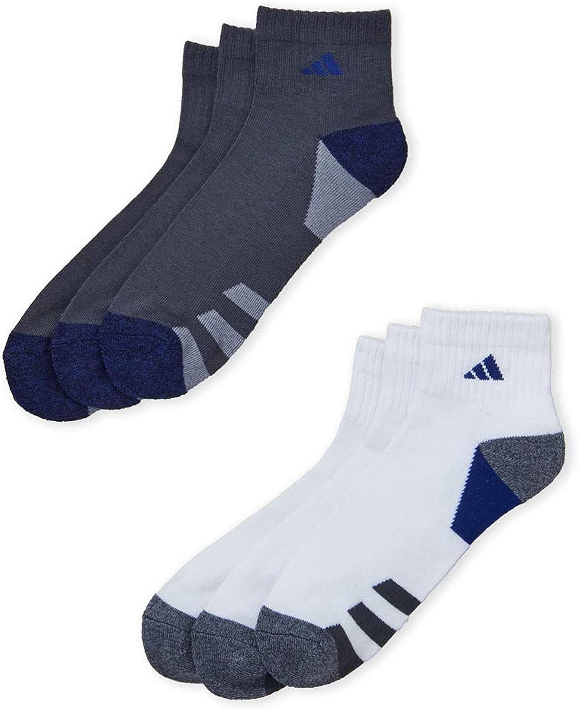 6 Pair Mens Adidas Quarter Crew Cushioned Socks (Dark Steel/Royal/Grey/White) , Large