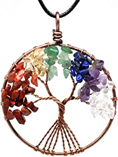 Tree of Life Pendant Necklace for Women with Gemstone Chakra Jewelry