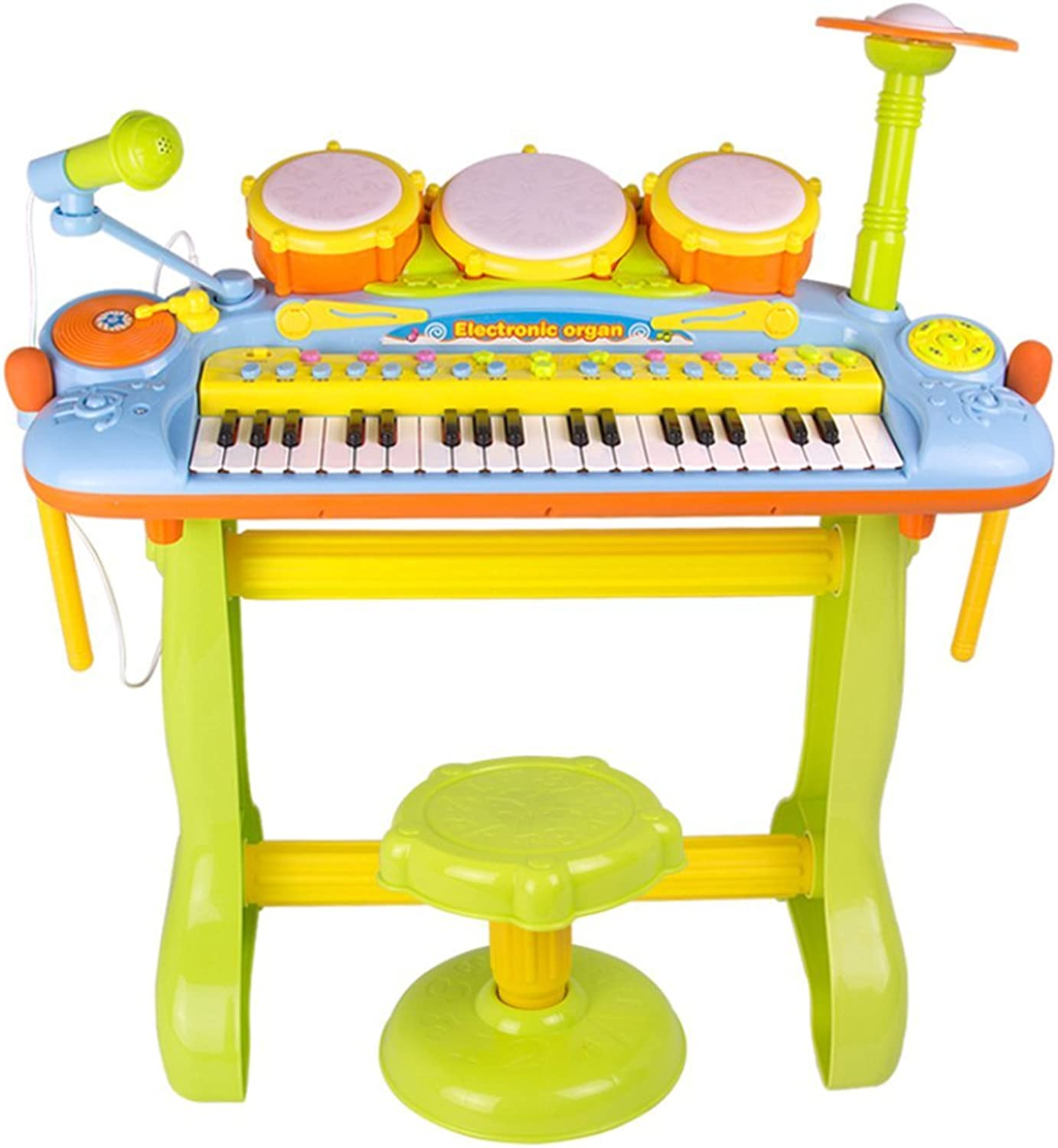 LINAG Kids 31 Keys Small Piano Toy Music Instrument Percussion Stool Electronic Microphone Singing Music Development Educational Game Mini Best Kids Baby Gift Multi-Function Learn-To-Play Plastic