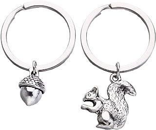 Amosfun - 2 portachiavi a forma di scoiattolo con pigne, in metallo, per San Valentino, anniversario